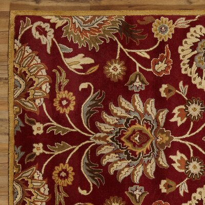 Elliot Brick Floral Wool Hand-Tufted Area Rug