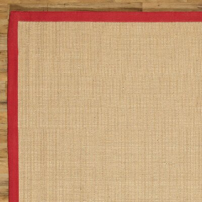 Sasha Hand-Woven Jute Red Area Rug Rug Size: Rectangle 2 x 3