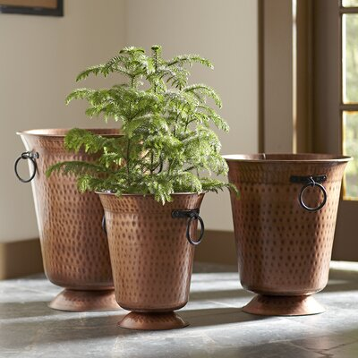 3-Piece Hammered Copper Pot Planter Set