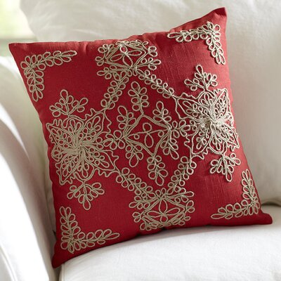 Mia Embroidered Pillow Cover Color: Red