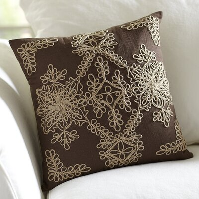 Mia Embroidered Pillow Cover Color: Chocolate