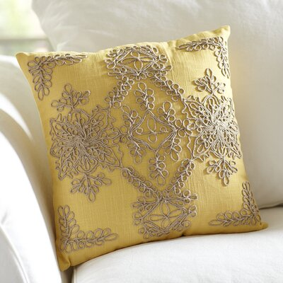 Mia Embroidered Pillow Cover Color: Canary