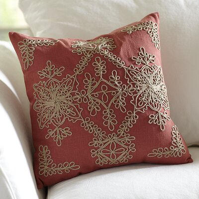 Mia Embroidered Pillow Cover Color: Brick