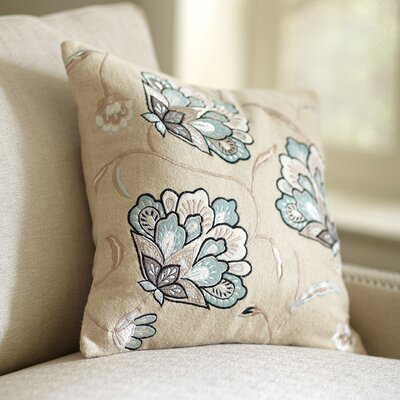 Odette Embroidered Felt Pillow Cover Color: Sky