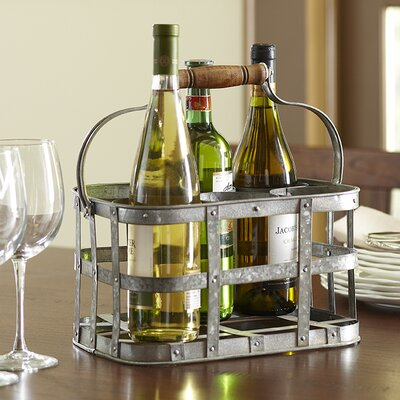 Galvanized 6 Bottle Tabletop Wine Rack