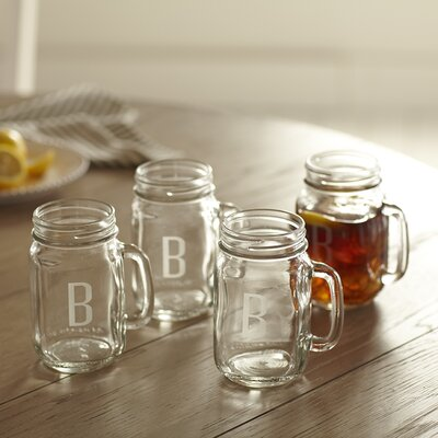 Monogrammed Drinking Jars with Handles CSD-7853