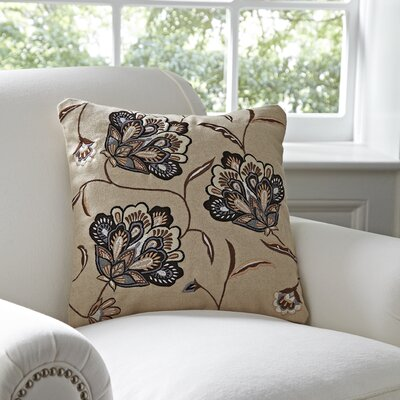 Odette Embroidered Felt Pillow Cover Color: Chocolate