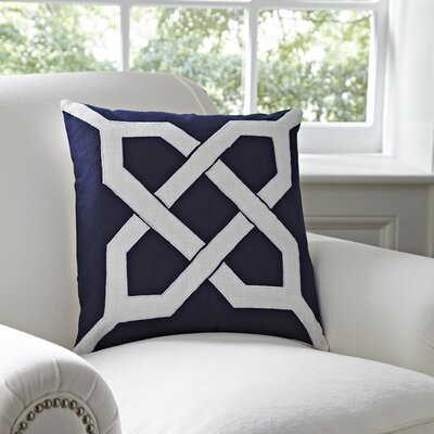 Kira Cotton Pillow Cover Color: Navy & White