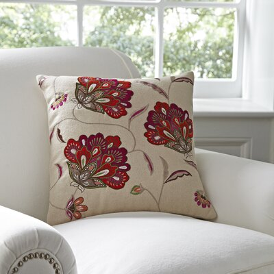 Odette Embroidered Felt Pillow Cover Color: Maroon