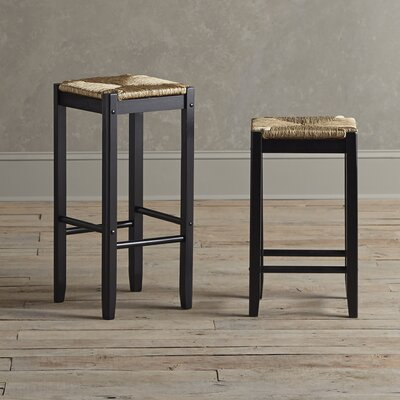 Alden Stools (Set of 2) Finish: Black, Seat Height: 24