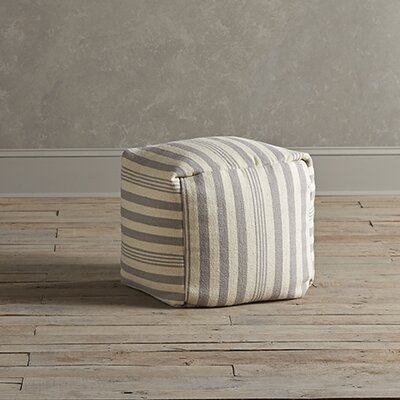 Felix Striped Pouf Upholstery: Pewter
