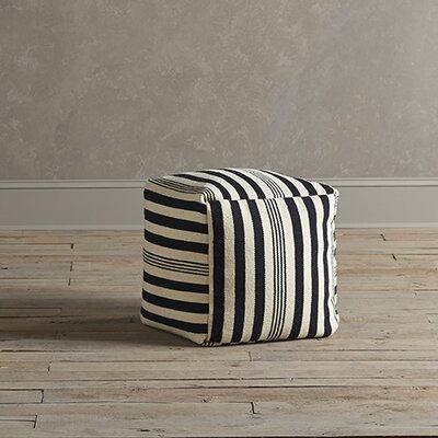 Felix Striped Pouf Upholstery: Black