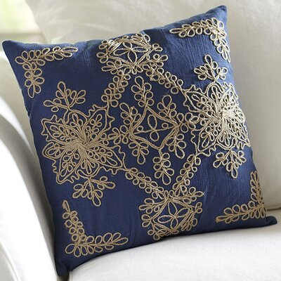 Mia Embroidered Pillow Cover Color: Blue
