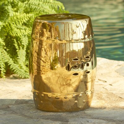 Glazed Ceramic Garden Stool Finish: Gold