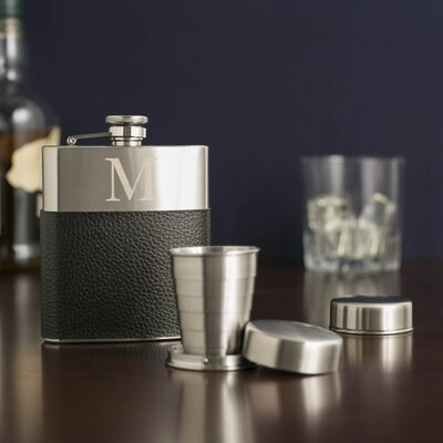 Monogrammed Leather-Wrapped Flask GT868