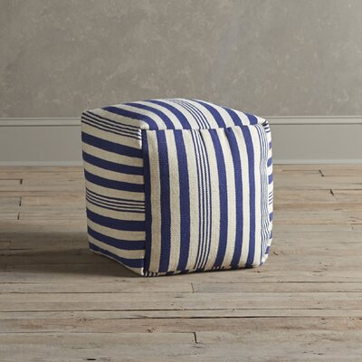 Felix Striped Pouf Upholstery: Navy