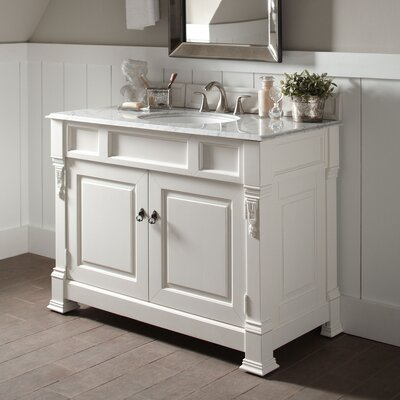 Stockbridge 48 Single Bathroom Vanity Set Base Finish: White, Top Finish: Carrara White