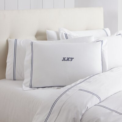 Alexa Monogrammed Duvet Color: Navy & White, Size: King