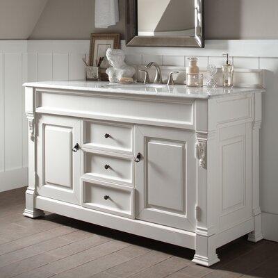 Stockbridge 60 Single Bathroom Vanity Set� Base Finish: White, Top Finish: Santa Cecilia