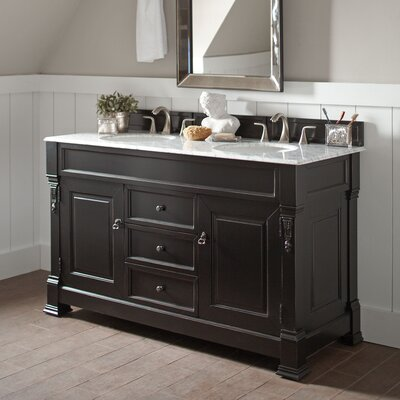 Stockbridge 60 Double Bathroom Vanity Set� Top Finish: Carrara White, Base Finish: Black