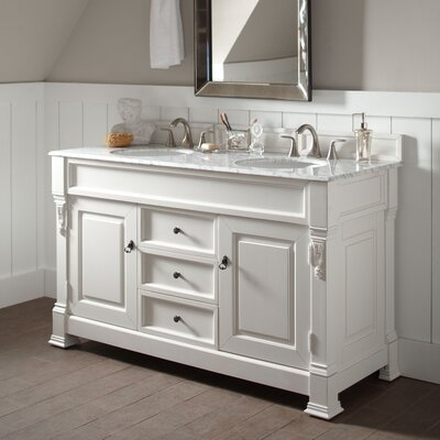 Stockbridge 60 Double Bathroom Vanity Set� Base Finish: White, Top Finish: Carrara White