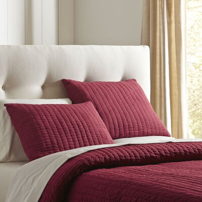 Julia Quilted Sham Size: Standard, Color: Red