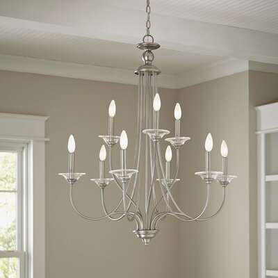 Alexandra 9-Light Candle-Style Chandelier Finish: Antique Brushed Nickel with Clear Glass Bobeches