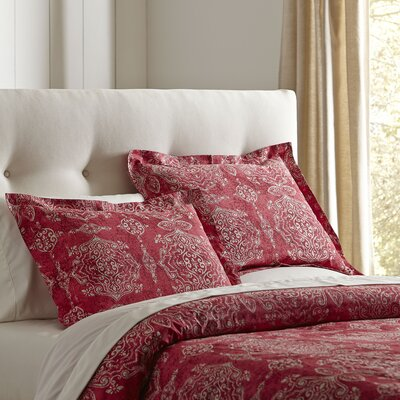 Sally 3-Piece Cotton Duvet Cover Set in Red