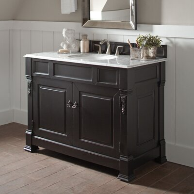 Stockbridge 48 Single Bathroom Vanity Set Base Finish: Black, Top Finish: Santa Cecilia