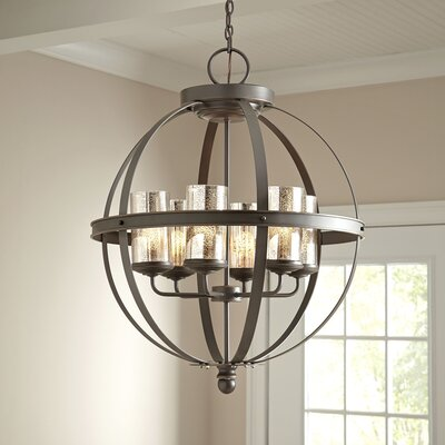 Tuscany 6-Light Shaded Chandelier Bulb Type: LED, Shade Color: Mercury