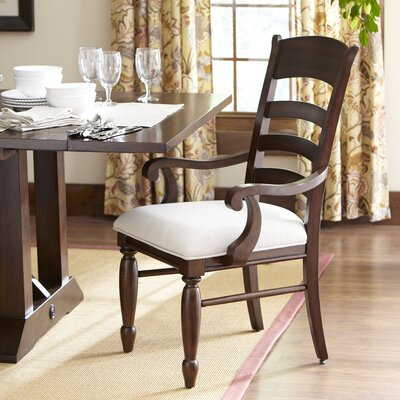 Lisbon Ladder-Back Arm Chairs (Set of 2) Finish: Cherry