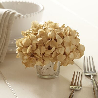 Preserved Ivory Hydrangea in Mercury Glass Vase