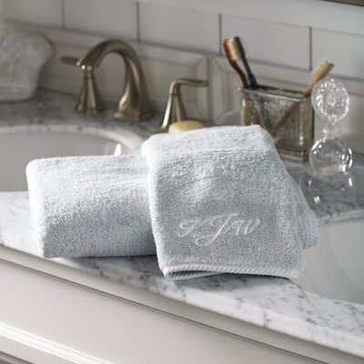 Vivienne Monogrammed Towel Size: Hand Towel, Color: Pool
