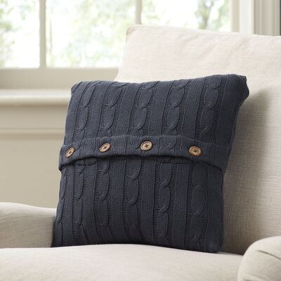 Clara Cable-Knit 100% Cotton Pillow Cover Color: Navy