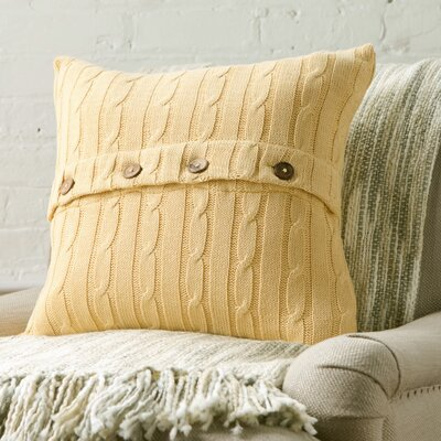 Clara Cable-Knit 100% Cotton Pillow Cover Color: Mustard