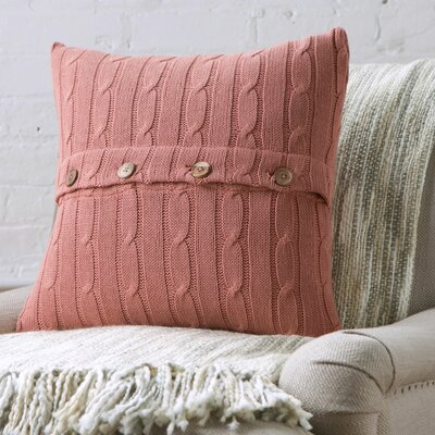 Harrietstown Cable-Knit 100% Cotton Throw Pillow Color: Terra