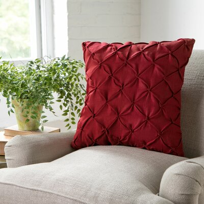 Alda Pintucked Pillow Cover Color: Red