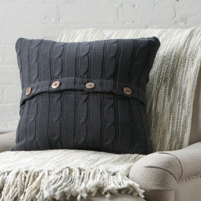 Harrietstown Cable-Knit 100% Cotton Throw Pillow Color: Pewter