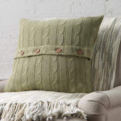 Clara Cable-Knit 100% Cotton Pillow Cover Color: Olive