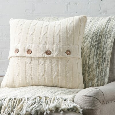 Harrietstown Cable-Knit 100% Cotton Throw Pillow Color: Turquoise
