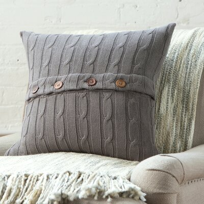 Harrietstown Cable-Knit 100% Cotton Throw Pillow Color: Stone