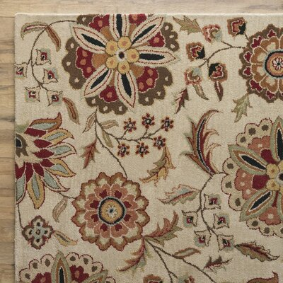 Jasmine Parchment Tufted Wool Area Rug Rug Size: Rectangle 76 x 96