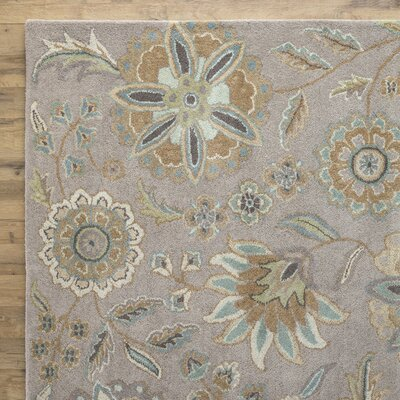 Jasmine Gray Tufted Wool Area Rug Rug Size: Round 99