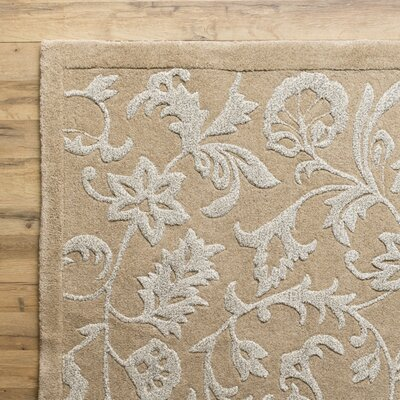 Hand Tufted Wool Beige Area Rug Rug Size: Rectangle 5 x 8