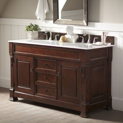 Bedrock 60 Double Burnished Mahogany Bathroom Vanity Set with Drawers Top Finish: Carrera White Marble Top, Base Finish: Burnished Mahogany