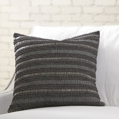 Minerva Beaded Pillow Cover Color: Pewter