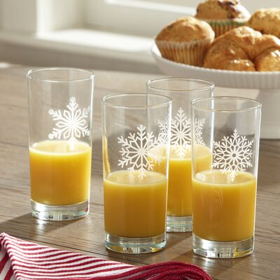 Snowflake Etched Highball Glasses