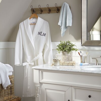 York Monogrammed Waffle Bathrobe Size: Small/Medium
