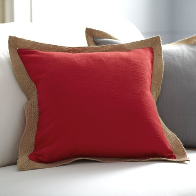 Cadence Jute Trim Pillow Cover Size: 18 x 18, Color: Red