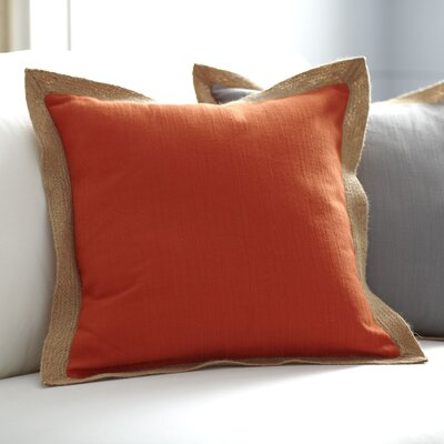 Cadence Jute Trim Pillow Cover Color: Burnt Orange/Camel, Size: 18 x 18